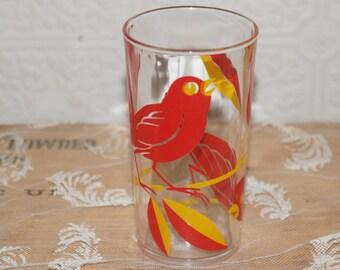 vintage Sweet little bird glass tumbler  juice glass