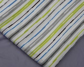 Twin Flat BedSheet Fabric or Use Lime Green Gray White Blue Stripe