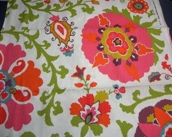 Canvas Cotton Duck Fabric Large Floral Flower Print in Pink Orange Purple and Turquoise Half Yard