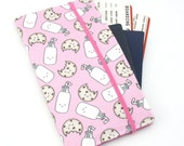 Travel wallet, passport holder, family travel wallet, travel organizer, passport wallet, document holder - Pink Milk and Cookies