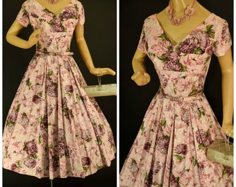 1950s Pink Floral Party Dress with Petal Bust - Full Skirt - Pink and Purple