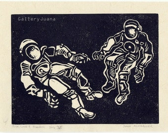 linocut print, 7 x 9, Risk, Love, and Freedom #5, two astronauts