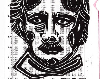 Poe linocut, 5 x 7, black and white