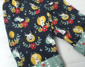 Organic cotton reversible pants in jackalope and full moon rising, sizes 6M-12M, 12-18M, 18-24M, 3T