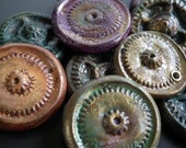 Steampunk gear polymer clay jewelry components CRACKLE (set of 2)