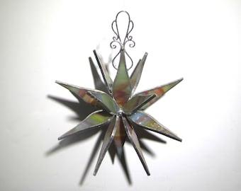 Sherbet Petals - 3D Stained Glass Flower Burst - Medium Pastel Abstract Home Garden Decor Suncatcher Hanging Ornament (READY TO SHIP)