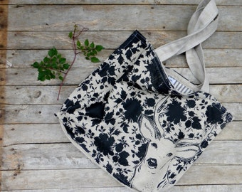 Stag and Doe Bag - Hand Printed Linen - 3 pockets