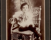 vintage photo Beautiful Little Boy Winfred Lamblin Blue Wicker Chair Camden New Jersey Cabinet