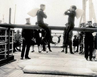 vintage photo 1926 Sailor Boys Sport Ship Deck USS France Vintage Snapshot Photo