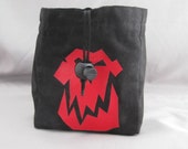 red orc skull and black swirling sky interior square bottom dice bag