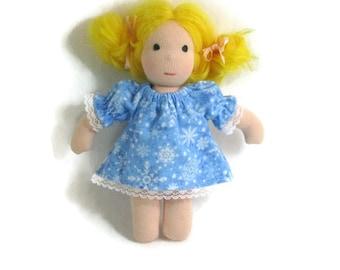 Doll nightgown, 6, 7, 8 inch Waldorf doll cotton flannel nightgown, cotton doll nightie in blue snowflakes