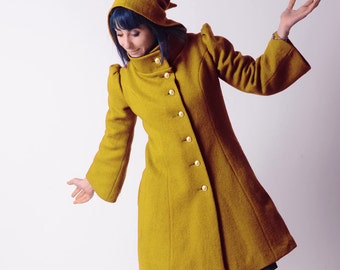 Mustard yellow wool Coat, Womens yellow winter coat, pointy hood, tall collar, Mustard yellow hooded coat, Winter fashion, Womens clothing
