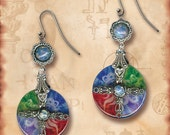 Earth, Water, Air, Fire Charm Glass Dangle Earrings - Symbolz- The Ancient Mysteries Collection - The Four Elements No. 2