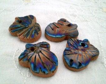 4 Acorn Beads, Handmade Beads, Raku Beads, Rustic Boho Beads, Hippie Beads, Nature Beads (btl15)