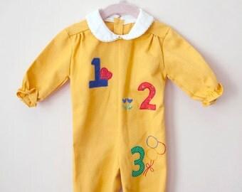 Vintage Baby Girl Jumpsuit / Mustard Yellow Child Jumpsuit