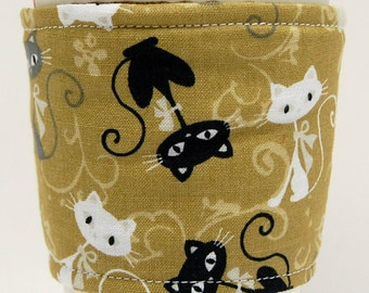 Coffee Cozy/Cup Sleeve Eco Friendly Slip-on, Teacher Appreciation, Co-Worker Gift, Bulk Discount:  Black, Gray and White Cats on Tan