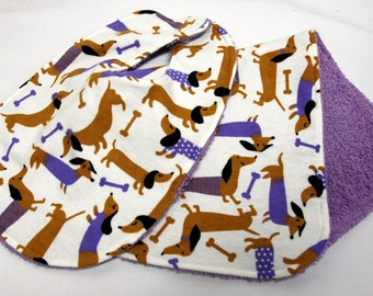 Baby Bib and Burp Cloth, Baby Shower Gift, Welcome Baby Gift:  Dachshunds, Doxies, with Purple Sweaters