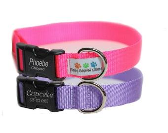 Engraved Dog Collar, personalized Collar - Plain Jane Laser Engraved