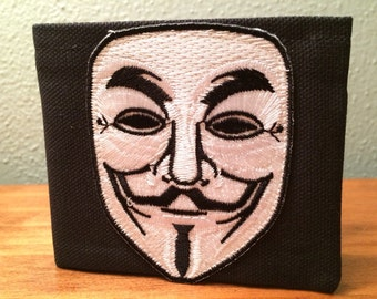 Guy Fawkes V for Vendetta handmade black canvas lightweight sturdy wallet