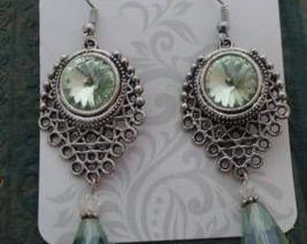Wedding Victorian Chandelier Crystal light green peridot drop silver earrings