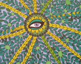 Blue Eye in Vines Pen and Ink Drawing