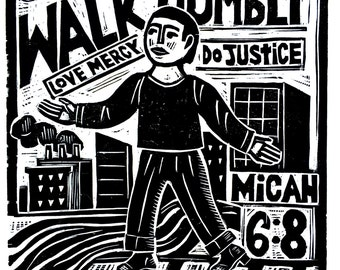 Walk Humbly Woodblock Print