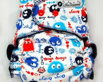 Cloth Diaper or Cover Made to Order - Red White and Blue Ooga Booga - You Pick Size and Style - Custom Nappy or Wrap - Monsters Boy Diaper