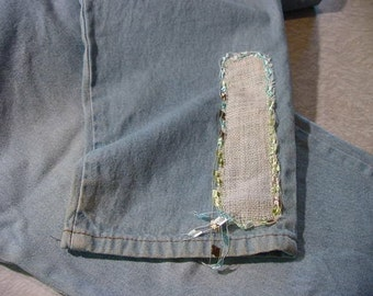 Blue Jeans recycled up-cycled sz 16 patch embellishments - boho Peasant hippie Cozy modest Folk rustic Country casual Indie broken-in Arty