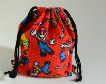 Nintendo Drawstring bag, Mario Bros favors bag, Mario Brothers fabric bag, Games Mario Bros Storage Bag, Mario bros party favors fabric bag