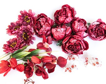 Grab Bag no. 30 --  OVER 30 Small to Medium Flowers in Red Tones - Silk Artificial Flowers