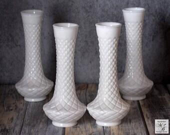 Milk Glass Vase, Randall Glass Vase, Wedding Decor, Vintage Milk Glass, Diamond Design