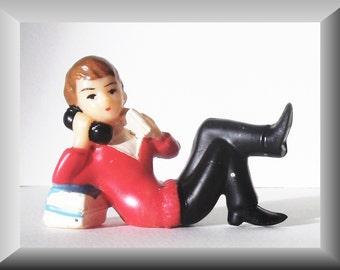 Vintage Wilton Cake Topper of Boy Talking on Telephone