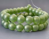 8mm Olivine Sueded Gold Czech Glass Bead Round Druk : 25 pc Gold Suede Olive 8mm Druk