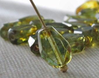 Czech Glass Aqua Green Picasso 10x7mm Tear Drop Bead : 10 pc Aqua Teardrop