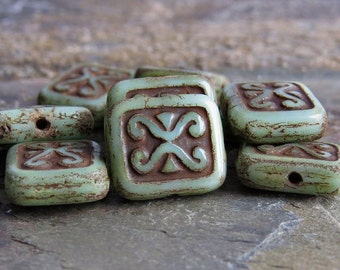 Mossy Green Ancient Scrolls Czech Glass 12mm Rectangle Bead : 10 pc Green Rectangle