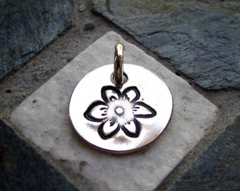 ON SALE Silver Flower Charm, PMC Fine Silver