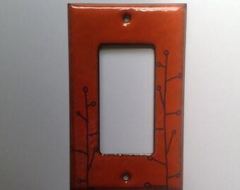 Enamel branch switch plate in orange