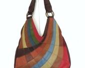 Vintage Lucky Brand leather Hobo Bag Patchwork Shoulder Bag Large Leather Bag