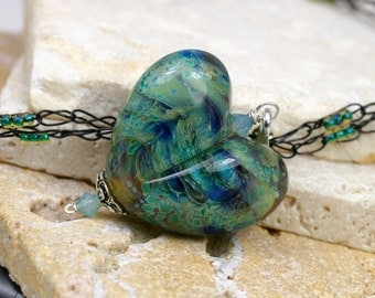 RESERVED- Lampwork - Glass Heart - Heart Necklace - Heart Pendant - Artisan Pendant - Blue And Green Heart Pendant - Glass Heart Pendant