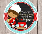 Little Chef Birthday Party Favor Tags or Stickers / Choose Boy or Girl and Hair Color / Cooking, Cookie, Cupcake or Baking Party / Set of 12