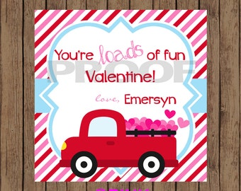 TRUCK Valentine Favor Tags / Truck Favor Tags / Valentine Favor Tags / Loads of Fun Valentine Tags / PRINTABLE / Set of 12