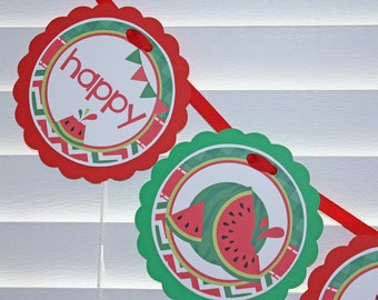 WATERMELON Birthday Banner / Watermelon Birthday / Picnic Birthday Banner / Picnic Birthday Party / Watermelon Birthday Party /Summer Banner