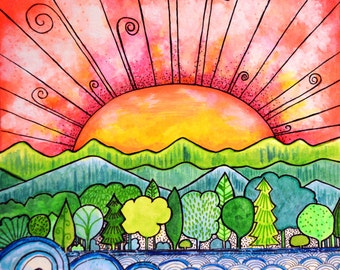 Beautiful Horizon sun ocean waves trees print from my Coloring book Joyful Inspirations published by Faithwords Publishing