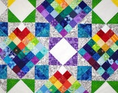 Star Rainbow Quilted Wall Hanging, Patchwork, Scrap Quilt, Jewel Toned