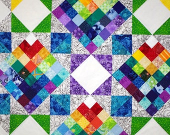 Star Rainbow Quilted Wall Hanging, Patchwork, Scrap Quilt, Jewel Toned, Quiltsy Team