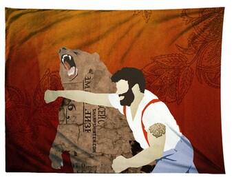 Haymaker Tapestry, Bear,  Illustration Tapestry