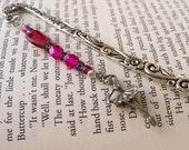 Unique Bookmark - Pink Bead Bookmark - Ballet Dancer Beaded Bookmark - Dance Bookmark - Beaded Bookmark - Antique Silver Bookmark