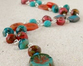 Beaded Jewelry - Beaded Necklace - Teal, Turquoise, and Orange Necklace - Bohemian Necklace - Czech Glass Necklace - Boho Necklace