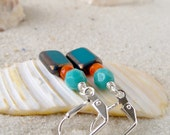 Glass Bead Jewelry - Glass Bead Earrings - Teal, Turquoise, and Orange Glass Beaded Earrings - Short Turquoise Bead Earrings - Drop Earrings