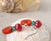 Glass Bead Jewelry - Glass Bead Earrings - Orange Glass Bead Earrings - Short Orange Bead Earrings - Drop Earrings - Teal and Orange Series